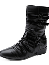 Men's Motocycle Boots Comfort Leather Boots Party & Evening Casual Combat Boots Low Heel Buckle / Zipper Black