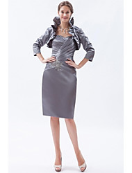 Sheath / Column Mother of the Bride Dress Knee-length Satin with Beading / Crystal Detailing / Pleat