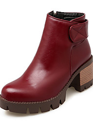 Women's Boots Winter Others Leatherette Dress / Casual Chunky Heel Magic Tape / Zipper Black / Red / Gray Others