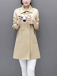 Women's Korean Style Solid Long Sleeve Trench Coat