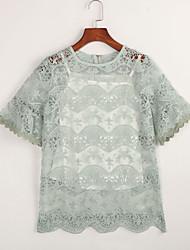 Damen Solide Einfach Ausgehen T-shirt,Rundhalsausschnitt Kurzarm Rosa / Grün Polyester Lichtdurchlässig