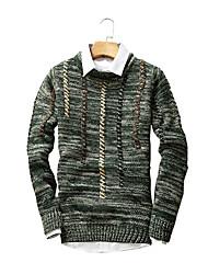 Normal Pullover Hommes Sortie / Décontracté / Quotidien / Soirée Vintage / simple / Chic de Rue,Couleur Pleine / RayéBleu / Gris / Vert /