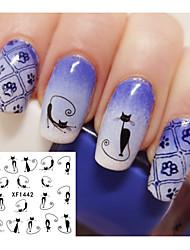 2pcs Cute Cat Nail Watermark Stickers