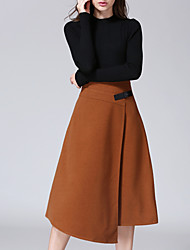 Women's A Line Solid Skirts,Casual/Daily Simple Mid Rise Asymmetrical Zipper Polyester Micro-elastic Fall / Winter