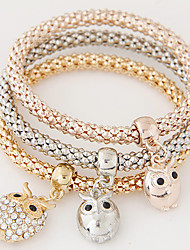 Women Fashion Simple Rhinestones Owl Charm Bracelet  Christmas Gifts