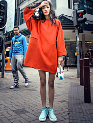 Women's Work / Sports Cute / Chinoiserie Swing Dress,Solid Round Neck Above Knee Long Sleeve Orange Cotton All Seasons Mid Rise