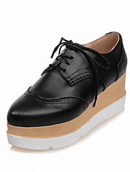 Women's Boots Spring / Fall / Winter Combat Boots PU Office & Career / Casual Low Heel Lace-up Black