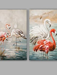 Hand-Painted Abstract / Animals 100% Hang-Painted Oil PaintingModern / Classic Two Panels Canvas Oil Painting For Home Decoration