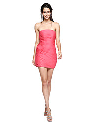 Sheath / Column Strapless Short / Mini Organza Cocktail Party Homecoming Dress with Flower(s) Side Draping Ruching by TS Couture®