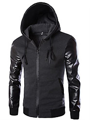 Men's Casual/Daily Simple Leather Jackets,Solid Hooded Long Sleeve Fall / Winter Black Cotton Thick