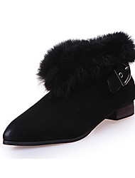 Women's Boots Winter Platform Leather Fur Casual Low Heel Platform Black Green Gray Walking