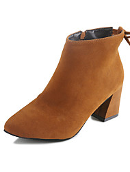 Women's Boots Fall Winter Others Suede Office & Career Casual Chunky Heel Gore Black Yellow Tan Walking