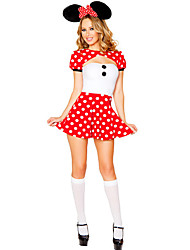 Cosplay Costumes Cosplay / Bunny Girls Movie Cosplay Red Solid Dress / Headwear Female Polyester