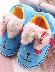 Girls' Slippers & Flip-Flops Winter Comfort Fleece Casual Flat Heel Fuchsia Brown Red Blue