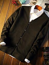 Men's Casual/Daily / Formal Simple / Active Regular Cardigan,Solid Blue / Black / Gray V Neck Long Sleeve Cotton Winter Medium Stretchy