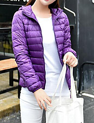 Women's Down Coat,Simple Casual/Daily Solid-Polyester White Duck Down Long Sleeve White / Black / Purple