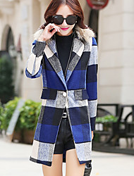 Women's Going out / Casual/Daily / Holiday Simple / Cute Coat,Striped / Geometric Notch Lapel Long Sleeve Fall / WinterBlue / Red /