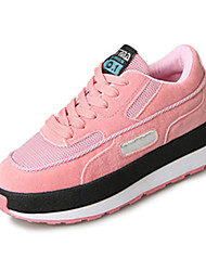 Women's Athletic Shoes Fall Winter Comfort PU Casual Low Heel Lace-up Pink Purple White Others