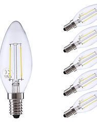 2W E14 Ampoules à Filament LED B 2 COB 250 lm Blanc Chaud / Blanc Froid AC 100-240 V 6 pièces