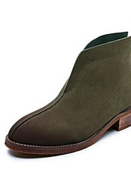 Women's Boots Comfort Cowhide Casual Brown Green Coffee