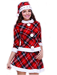 Cosplay Costumes Santa Suits Movie Cosplay Red Plaid Top / Skirt / Hats Christmas Female Polyester
