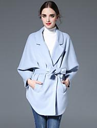 KENAYA Women's Casual/Daily Simple CoatSolid Notch Lapel Long Sleeve Fall / Winter Blue Wool