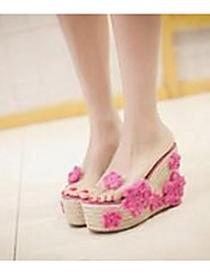 Holistic exclusive hand-crocheted hemp heavy-bottomed high-heeled sandals and slippers slope with transparencies