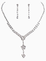 The Simple Flower Pendant Rhinestone Necklace Set