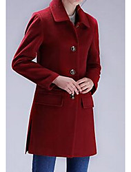 Women's Casual/Daily Simple Coat,Solid Long Sleeve Red / Yellow / Purple Polyester
