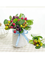 1 Une succursale Soie / Gel de silice Plantes / Fruit Fleur de Table Fleurs artificielles Total High:10.5""