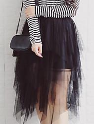 Damen Übergrössen Röcke,A-Linie einfarbig Tüll,Lässig/Alltäglich / Ausgehen Einfach Hohe Hüfthöhe Asymmetrisch Elastizität Polyester