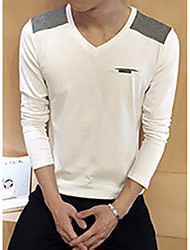 Men's Going out / Beach Simple / Active T-shirt,Solid Round Neck Long Sleeve White / Black Cotton