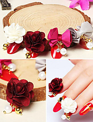 6Pc Mixed Models 3D Nail Art Magnet Flower Bownot Charm Detachable DIY Cloth Bead Decoration