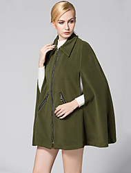 Women's Loose Thin Smock Long Trench CoatSolid Shirt Collar Sleeveless Winter Army Green Thick