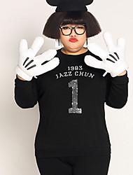 Sweatshirt Femme Grandes Tailles Décontracté / Quotidien simple Lettre Col Arrondi Micro-élastique Coton Manches Longues Automne Hiver