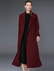 Xuanyan Women's Casual/Daily Simple CoatSolid Notch Lapel Long Sleeve Winter Red / Brown / Purple Wool