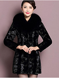 Women's Going out Simple Fur Coat,Solid Long Sleeve Spring / Fall Black Faux Fur Medium