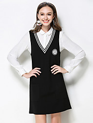 Women's Casual/Daily / Plus Size Simple Fall Set Skirt Suits,Striped Shirt Collar Long Sleeve Black Rayon / Polyester / Nylon / Spandex