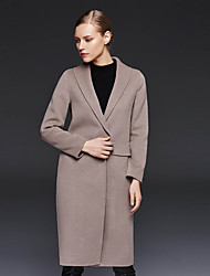 Xuanyan Women's Casual/Daily Simple CoatSolid Shirt Collar Long Sleeve Winter Red / Gray Wool / Polyester