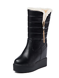 Women's Boots Winter Platform / Comfort Increased Within Flange Thick Patent Leather Dress / Casual Platform Slip-on