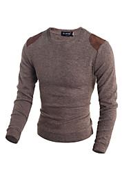 Herren Lang Pullover-Ausgehen Lässig/Alltäglich Retro Einfach Solide Beige Braun Grau Ständer Langarm Wolle Winter Dick Dehnbar