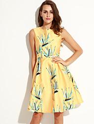 Women's Vintage A Line Dress,Print Round Neck Knee-length Sleeveless Yellow Polyester Summer