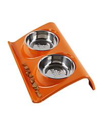Gato / Cachorro Comedouro Animais de Estimação Tigelas e alimentação de animais Prova-de-Água / Dobrável / Casual LaranjaSilicone / Aço
