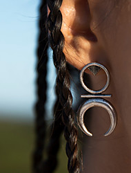Women Personalized Retro National Wind Earrings Good Luck Symbol Alloy Stud Earrings  Alloy Earrings 1 pair