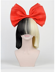 The New Hair Bow Set Long Bangs Half Black Half Blonde Sia Styling Christmas Party Wigs High - end mesh  Big bow