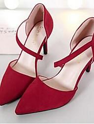 Damen-High Heels-Lässig-VliesKomfort-Schwarz / Rot
