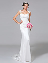 Mermaid / Trumpet Straps Court Train Stretch Satin Wedding Dress with Appliques Button by LAN TING BRIDE®