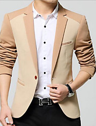 Men's Going out / Casual/Daily Simple Winter Blazer,Check Shirt Collar Long Sleeve Blue / Brown Polyester