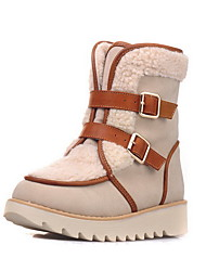 Women's Frosted Round Closed Toe Solid Low-top Low-Heels Boots