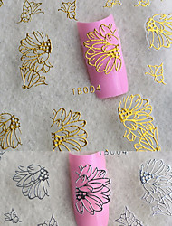 6pcs Gold Butterfly 3D Nail Metal Stickers Flower
